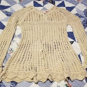 Ladies Crochet Tunic Sweater Size Medium